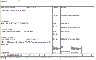 Оплата штрафов ГИБДД юридическим лицом платежное поручение